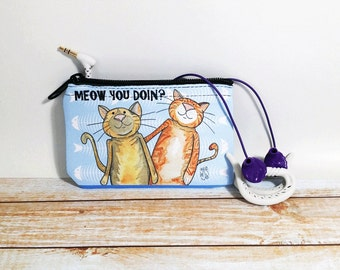 Meow Cats Coin Purse Change Pouch Wallet Cat Pun Humor Meow You Doing