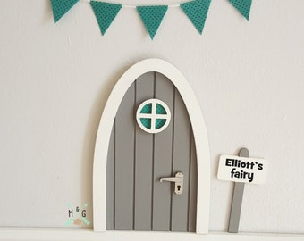 Fairy door with personalised signpost Grey with teal polka-dot fabric miniature bunting - tooth fairy - mouse door - pretend play - elf door