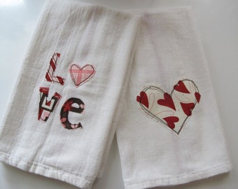 Love Kitchen Towels set of 2, Valentines Day, Hearts, LOVE