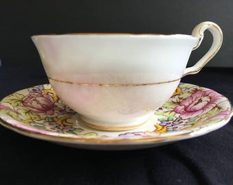 Vintage Victoria C and E Bone China Cup and Saucer Set Peony Pattern