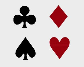 Playing Card Suits Embroidery Files in 5 different sizes - INSTANT DOWNLOAD - Item # 8037