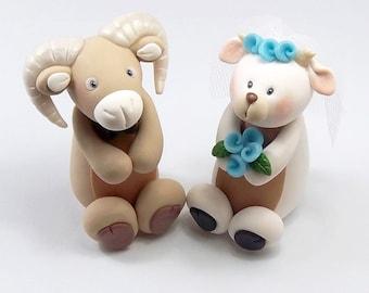 Personalized Wedding Cake Topper, Ram, Goat, Chinese Zodiac Sign, Custom Cake Topper, Handmade Figurines, Cute Cake Decoration
