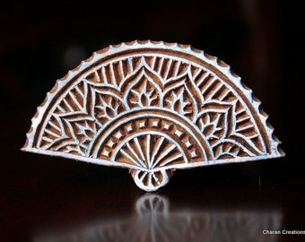 Indian Wood Stamp, Textile Stamp, Pottery Stamp, Soap Stamp, Indian wood Stamp-Oriental Fan