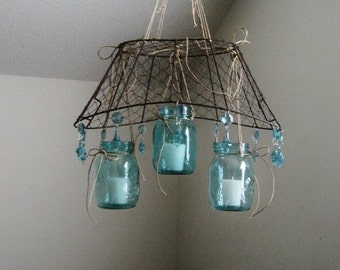 Fresh Off the Farm Mason Jar and Chicken Wire Candle Chandelier