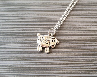 Silver Sheep Necklace - Sheep Charm Necklace - Personalized Necklace - Custom Gift - Initial Necklace - Gifts for Knitters - Gift Under Ten