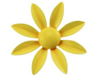 Yellow Enamel Flower Brooch, Yellow Enamel Daisy Brooch, Yellow Flower Pin