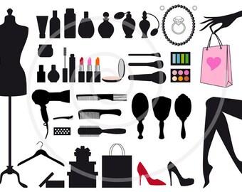 45 fashion clipart, digital clip art, clip-art set, beauty, silhouettes, shopping bag, shoes, EPS, SVG, commercial use, instant download