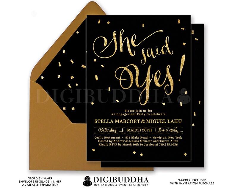 BLACK & GOLD ENGAGEMENT Party Invitation She Said Yes Elegant