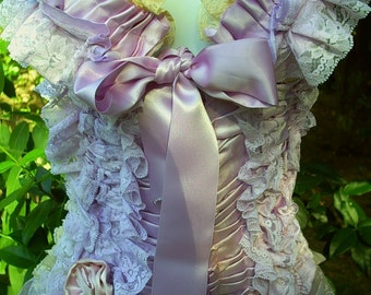 Lilac, ribbon, ruffle ,satin , lace, bra, waist cincher, set, victorian, vaudeville, custom, pin-up, burlesque, by vintage opulence on Etsy