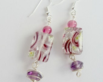 Amethyst Lampwork Earrings, Wire-Wrapped Amethyst Beaded Earrings, Surgical Stainless Earwires