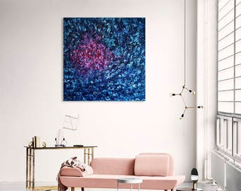 Abstract Painting - Acrylic on Canvas 100X100  Blue - Pink