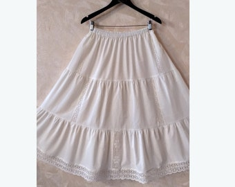 Milky white cotton underwear petticoat, Skirt with lace, Bohemian long skirt, Batiste skirt, Tiered skirt, Wide long skirt