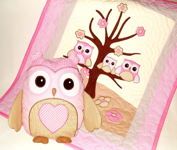 Owl Crib Quilt and Personalized Owl Pillow