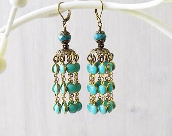 Turquoise earrings, Turquoise tassel earrings, tassel earrings, jhumka earrings, jhumki earrings, gyspy earrings, boho earrings, gift woman