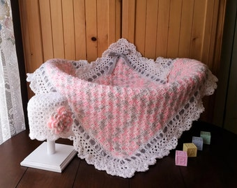 Crochet Baby Blanket, Baby Girl Blanket Set, Baby Shower Gift for Baby Girl