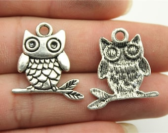 4 Owl on a Brach Charms, Antique Silver Tone (1F-204)