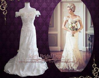 Unique Vintage Style Lace Wedding Dress | Retro Wedding Dress | Off the Shoulder Wedding Dress | Mackenzie