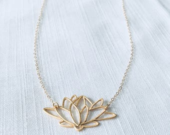 Gold vermeil lotus charm necklace, gold lotus pendant necklace, gift for her, yoga jewelry, gift for mom