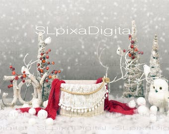 Digital background digital backdrop newborn christmas winter #30