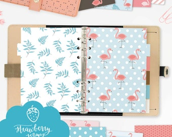 "A5 planner dividers: ""FLAMINGOS"" cute planner inserts, tabs or dashboards, DIY printable planner dividers, fits Filofax, KikkiK and more"