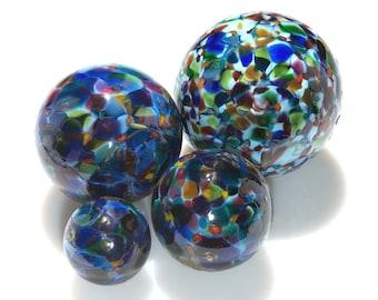 Pond Floats.  Blue Magic Mix Blown Glass.  3 inches, 4 inches, 5 inches & 6 inches in diameter. Made in Seattle.  Artist Dehanna Jones