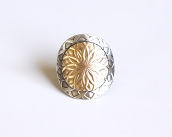 """Modern silver ring handmade with a round brass and sterling silver circles w/ intricate pattern - made to order size - """"Mandala Ring"""""""