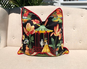 Chinoisorie Pillow Cover in Black with Contrast Red Velvet Pipping. Asian Toilie Pillow in Black.