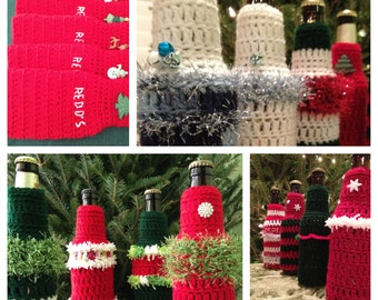 PATTERN Crocheted Beer Bottle Cover Beverage Ugly Tacky Christmas Sweater Party Favor Hostess Gift DIY Holiday Secret Santa White Elephant