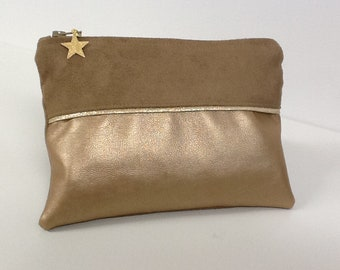 Beige women's wallet in suede, gold-tone, gold border / Women's purse in gold vegan fabric, sequins, star / women's gift