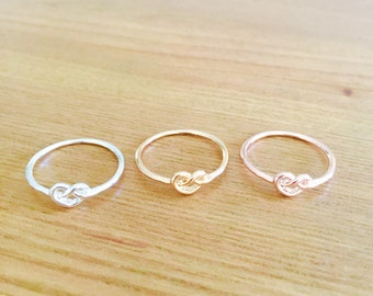 Heart knot ring silver gold rose gold pretzel girl gift bridesmaid wedding favour