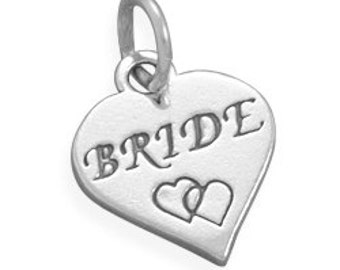 Wedding Charms,Bride Charm, Brides Bouquet Handle Charm, Sterling Silver Heart Charm, Bride Charm Imprinted with Double Hearts