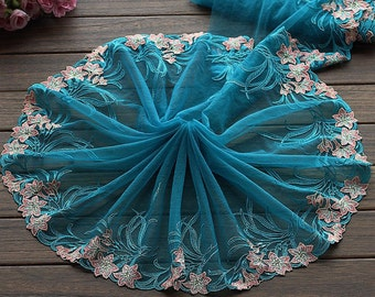 """2 Yards Lace Trim Exquisite Floral Embroidered Lakeblue Tulle Lace 9.44"""" Wide High Quality"""