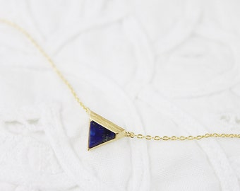 Gold Framed Blue Marble Stone Triangle Pendant Necklace Bridesmaid Gift Bridesmaid Necklace Simple and Modern Necklace