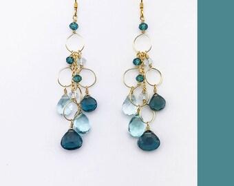 Graduation Gift for Her | Aquamarine Earrings | Aquamarine Gemstone Earrings | Aquamarine Dangle Earrings | Iolite Earrings | Aquamarine