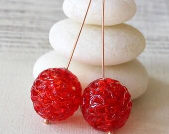 18mm Handmade Czech Lace Round Beads  - Lampworg Glass Beads - Jewelry Making Supply - Czech Lace Lamp Beads (2 Beads)  Christmas Red