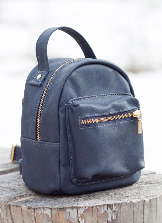 Small rucksack Women leather backpack Blue leather backpack