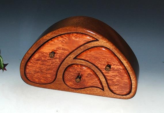 Wooden Jewelry Box- TriOval Style- Redwood Burl on Mahogany - Wooden Box, Wood Jewelry Box, Handmade Jewelry Box, Art Jewelry Box, Wood Box