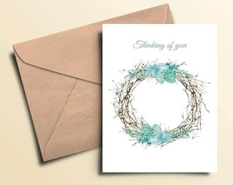 Wreath Thinking of You Cards