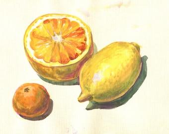 lemon, orange, tangerine ORIGINAL WATERCOLOR PAINTING