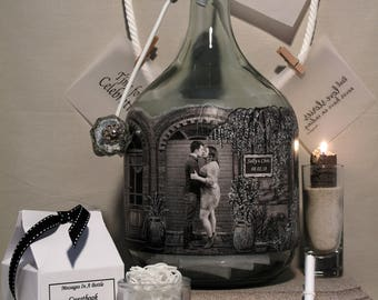 Messages In A Bottle Guestbook, Unique Personalized Hand Painted Guestbook Alternative With Your Photo, Well Wishes Bottle For Bridal Shower