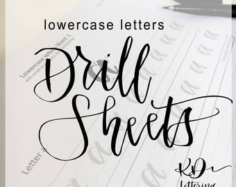 Lowercase brush lettering practice drill sheets