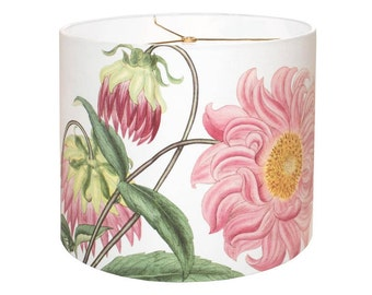 X-LARGE Linen Cotton Pink Dahlia Drum Lamp Shade - Shabby Cottage Pink Flower Lampshade - 16 17 18 Inch Custom Made to Order Lamp Shade