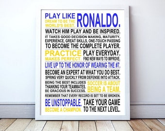 Play Like Ronaldo -  Soccer Poster | CR7 | Inspirational Manifesto | Gift for Soccer Players | Soccer Gift | Soccer Player Art