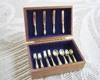 Vintage Dollhouse Furniture Accessory Silverware Chest Box Silverware