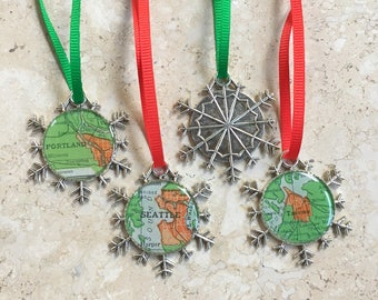 Snowflake  Ornament  Seattle Tacoma or Portland Vintage Maps Pacific Northwest Silver Christmas