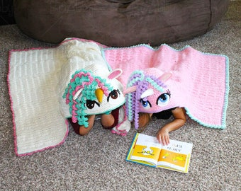 Patroon Gehaakte Eenhoorn deken met muts (Opties voor 'normaal' & Chunky garen)
