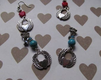 Silver heart wing earrings
