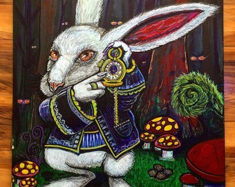 "White Rabbit Print. 12x12"" paper, Hand Signed. Alice and Wonderland"
