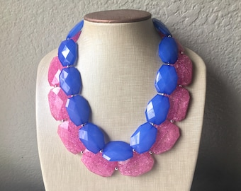 Pink & Blue Necklace, multi strand jewelry, big beaded chunky statement necklace, pink necklace, bridesmaid necklace, blue necklace
