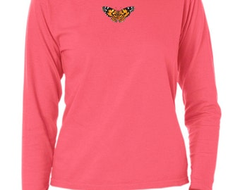 Painted Lady Butterfly ladies dyed long sleeve t-shirt